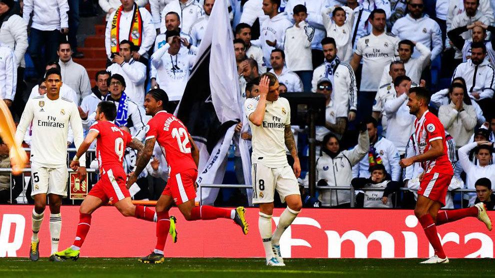 Gol kedua Girona yang dicetak oleh Portu buat Madrid takluk di Santiago Bernabeu