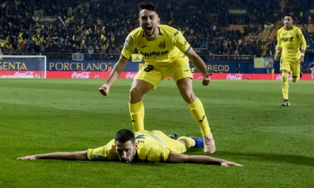 Selebrasi pemain Villarreal saat sukses bobol gawang Sevilla