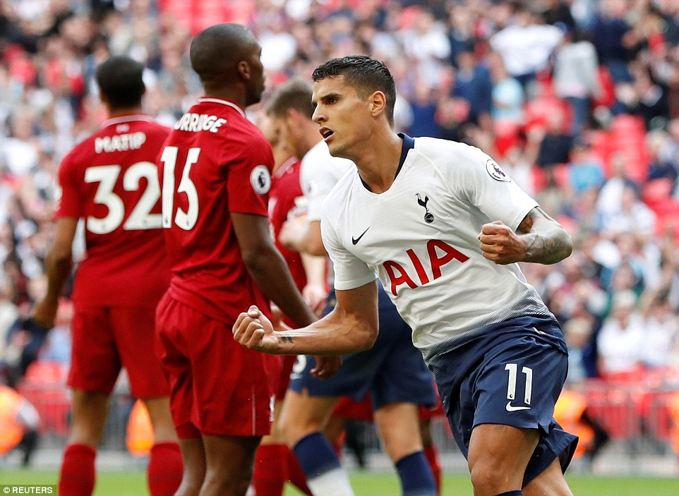 Eric Lamela mencetak satu gol di pertemuan terakhir antara Liverpool vs Tottenham