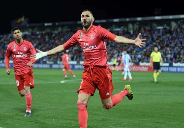 Selebrasi Karim Benzema saat cetak gol penyama kedudukan